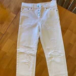 Levi's size 24 cropped white distressed jeans